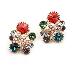 Fashion red starfish crystal earrings